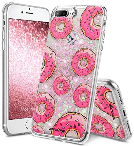 Funda Rosa iPhone 8 Plus,Funda iPhone 7 Plus Purpurina,Glitter Rosa Fuido Liquids Transparente Purpurina Brillantes Fundas Protectora Apple iPhone 7 Plus,8 Plus-Rosa lipstick liquids Donut Rosa