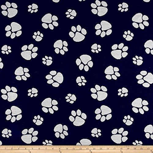 Crypton Home Pet Paws Jacquard Denim Fabric by The Yard