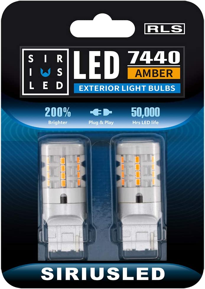 SIRIUSLED RLS 7440 7440A Built in Resistor Anti Hyper flashing LED Bulb Turn Signal Light Amber Orange Color Full Aluminum Body Single Filament Error Free Pack of 2