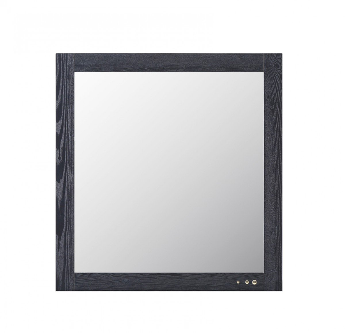 VIG Furniture Modrest Wales Collection Modern Smoked Ash Veneer Finished Mirror with Brass Accents, Dark Grey