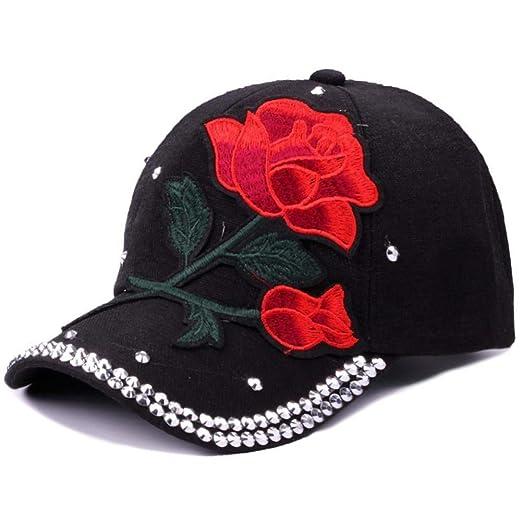 Gorra de béisbol Rosa roja Bordado floral Gorra de béisbol Mujeres ...