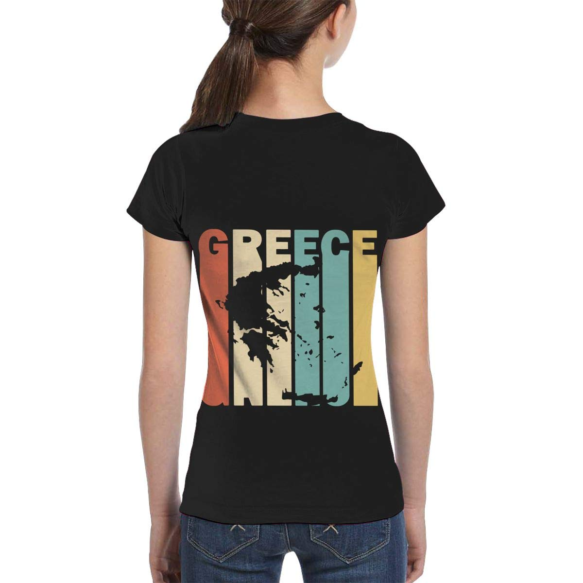 Girls Short Sleeve Retro Style Greece Silhouette T-Shirts Casual Blouse Clothes XS-XL
