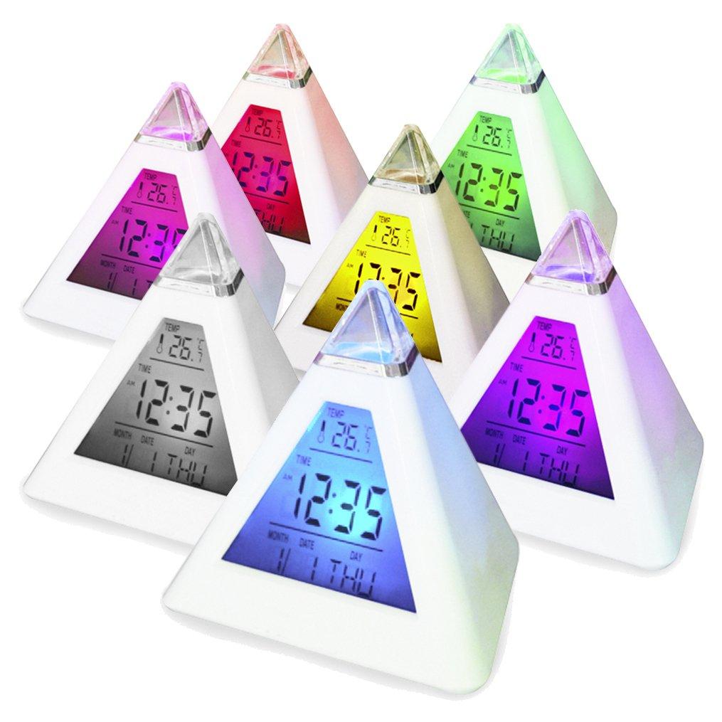 Digiflex 7 LED Pyramid Colour Changing Digital Alarm Clock AA57