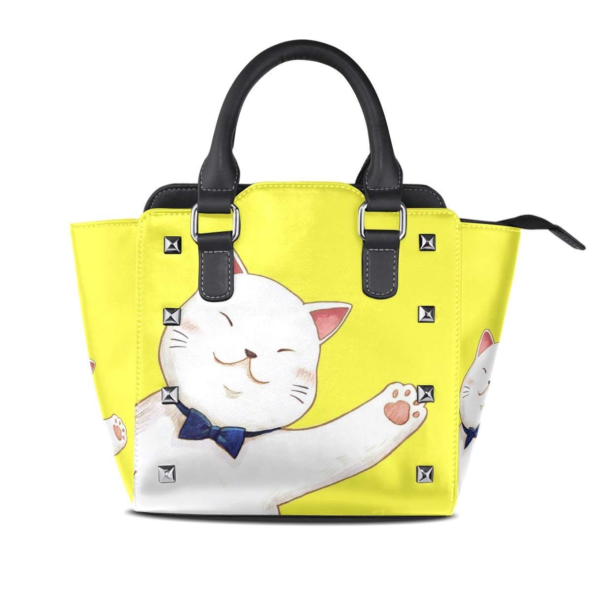 Design1 Cat Top Handle Satchel Handbags Leather Tote Adjustable Shoulder Rivet Bag for Women