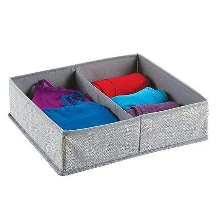 mDesign – Caja organizadora de tela (2 compartimentos) – Precioso organizador para ropa interior