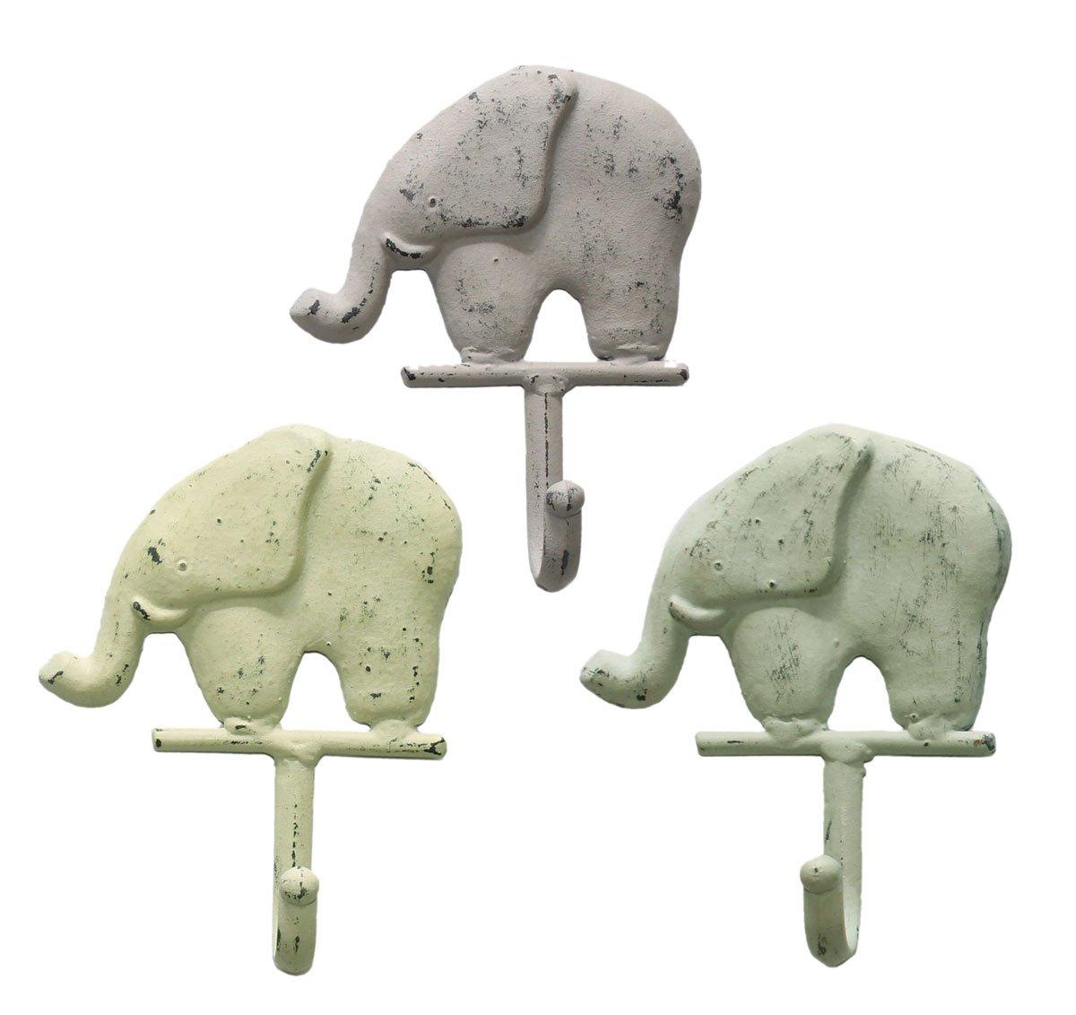 Set of 3 Cast Iron Elephant Wall Hooks