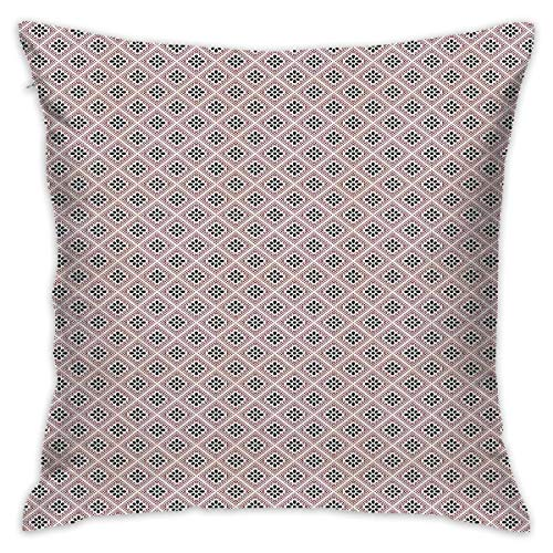 Uanlic Decorative Throw Pillows Covers with Insert,Ornate Oriental Flowers Pattern Dots Rhombuses Abstract Blooming Nature,18x18 Inches Square Patio Cushions for Couch Bed Sofa Patio Furniture (Covers Uk Furniture Square Patio)