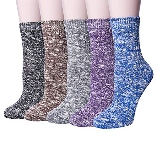 5 Pairs Womens Warm Thick Casual Cotton Crew Winter Socks