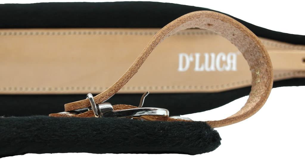 DLuca DSM-BKLRDV Pro SM Series Genuine Leather Accordion Straps Black//Red