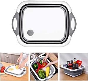 Youc-US Collapsible Cutting Board,3 in 1 Chopping Board with Drain Plug, Multifunction Storage Basket, Foldable Multi function Silicone Dish Tub.