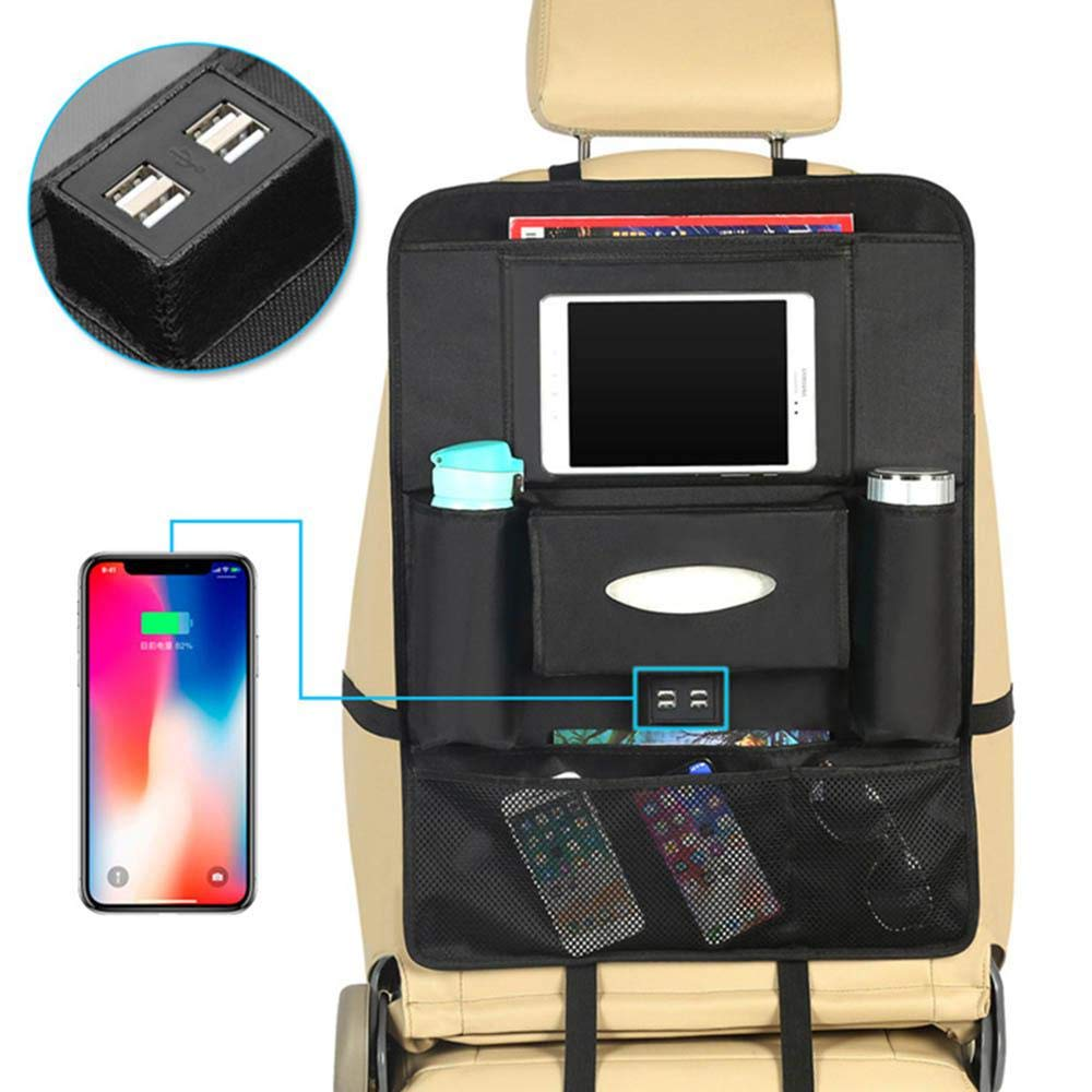FOONEE バックシートオーガナイザー USB充電ポート4つ付き オックスフォード生地 キックマット 車 後部座席プロテクター 子供用 透明iPadホルダーバッグ付き   B07K1J25QR