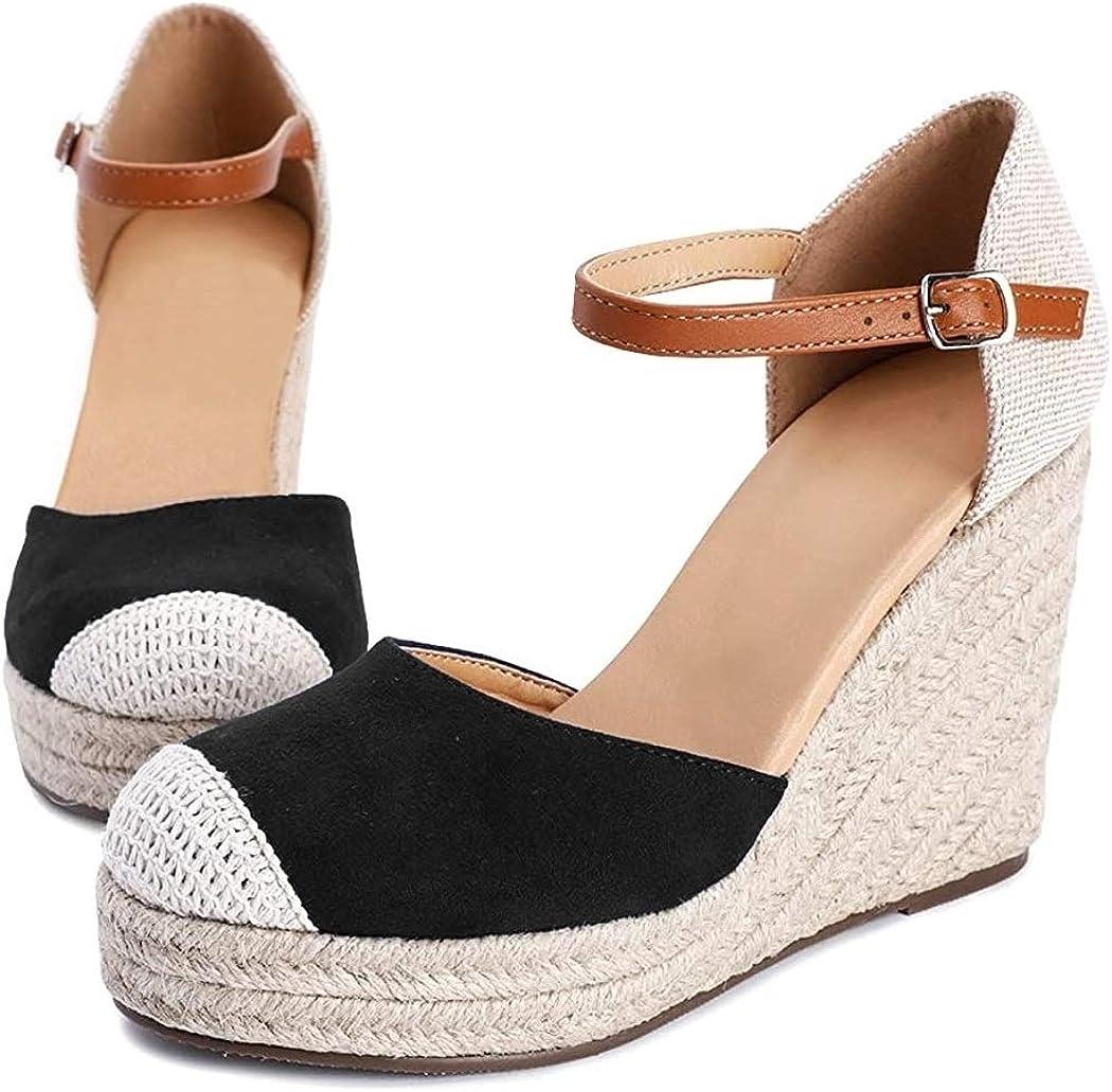 Womens Closed Toe Espadrilles Platform Heel Wedge Shoes Ankle Strap Sandals