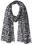 Armani Exchange Men's Typography Logo Scarf, BS White with Typograp, TU