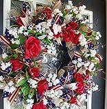 Americana Eye Candy! Rustic Farmhouse Style Navy Blue & Dark Red 4th of July, Memorial Day, Summer, Deco Mesh Floral Door Wreath, RWB Farm