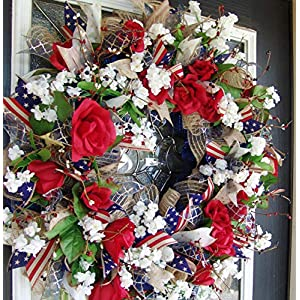 Americana Eye Candy! Rustic Farmhouse Style Navy Blue & Dark Red 4th of July, Memorial Day, Summer, Deco Mesh Floral Door Wreath, RWB Farm 78