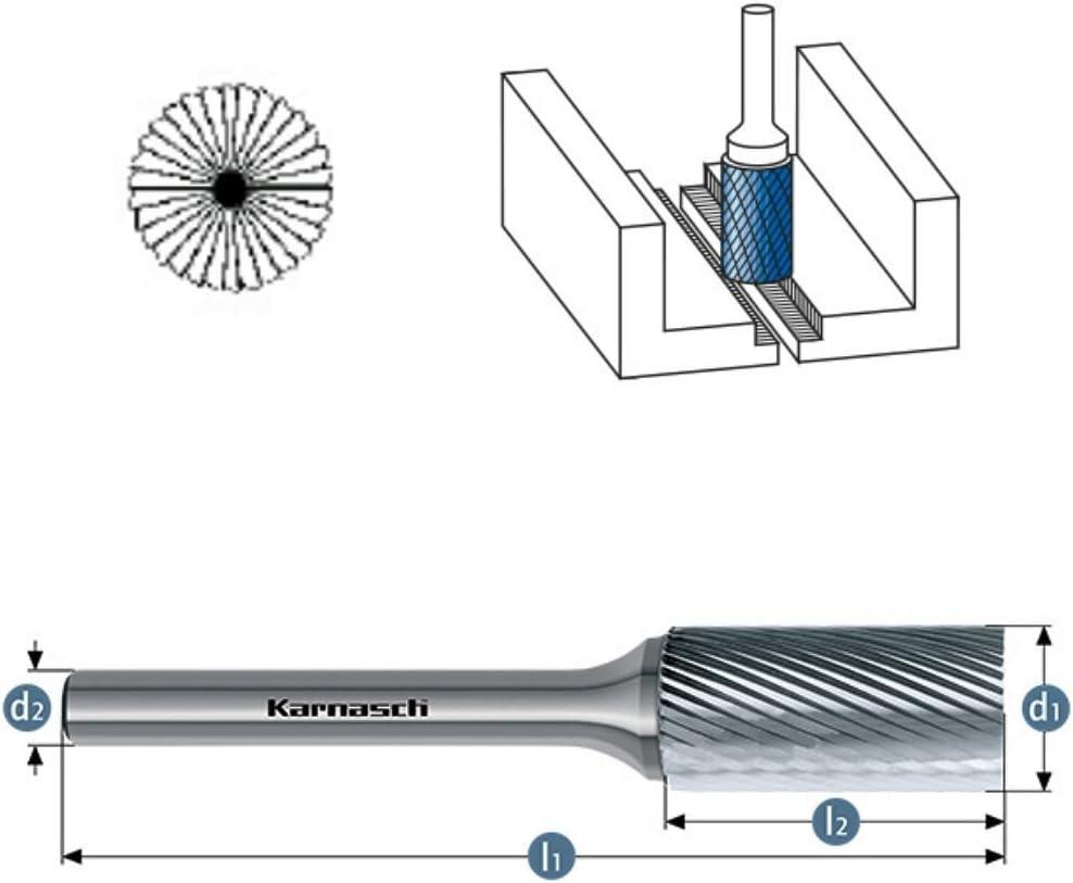 VHM Fr/ässtift Fr/äser HM ZYB mit Stirnverzahnung HP-5 /Ø=1,5mm L/änge=38mm Kopfl/änge=6mm Schaft=3mm