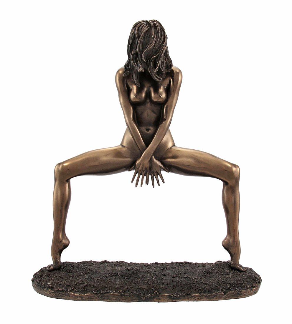 Veronese Design Bronzed Finish Nude Woman Spread Pose Statue Erotic Art
