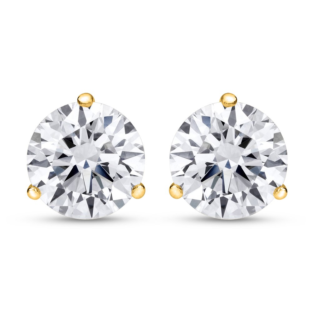 1 Carat Total Weight White Round Diamond Solitaire Stud Earrings Pair set in 14K Yellow Gold 3 Prong Martini Push Back (F-G Color VS1-VS2 Clarity)