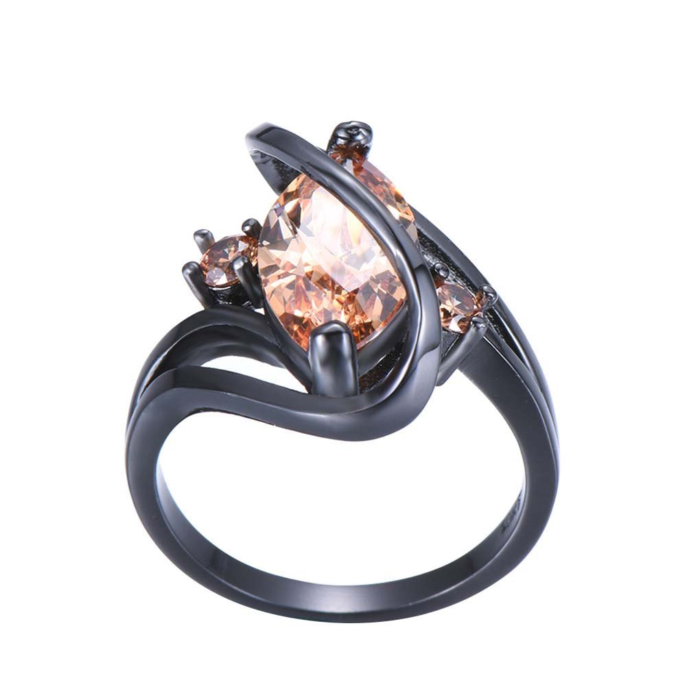 F/&F-Stars Champagne S Shape Zircon Ring Jewelry for Women Wedding Engagement Rings