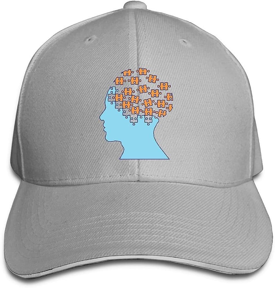 Unisex Jigsaw Art Human Brain Sandwich Peaked Cap Adjustable Cotton Baseball Caps
