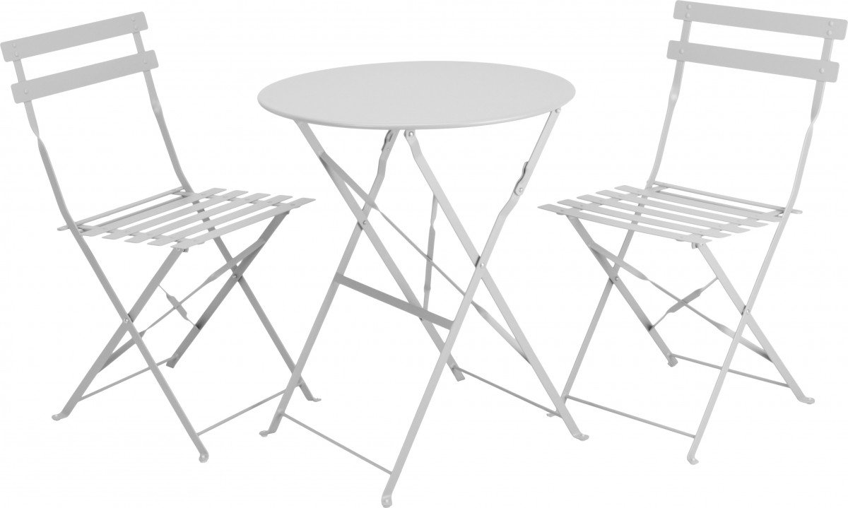 Bistroset Gartenmöbel Balkonmöbel Sitzgruppe Metall 3-tlg. weiß ...