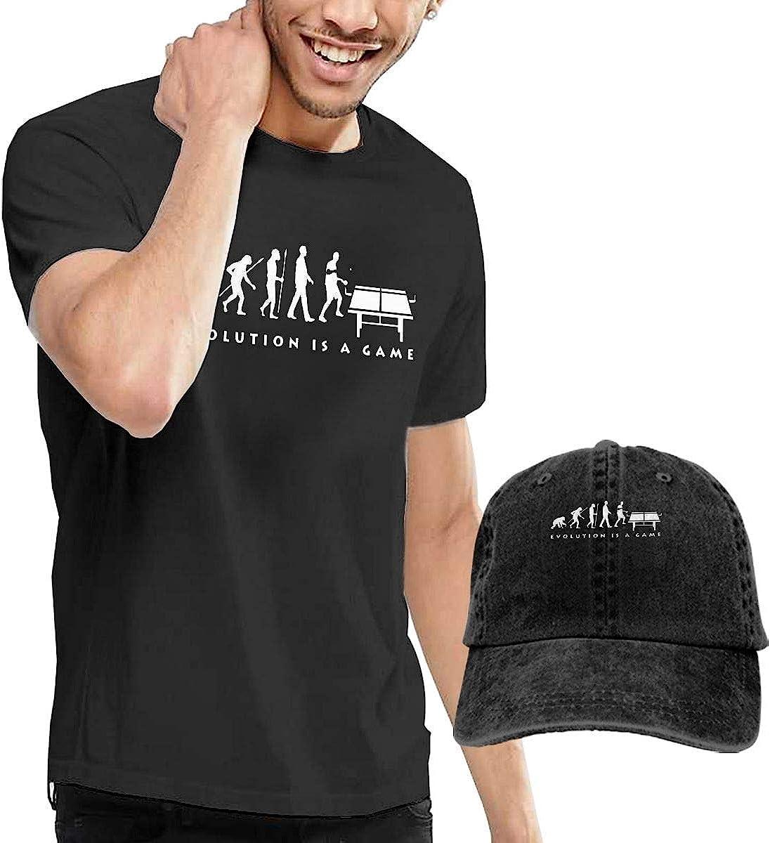 Quitelike Custom Table Tennis Evolution Short Sleeve T Shirt Black tee Camisetas de Hombre con Gorra de béisbol For Men