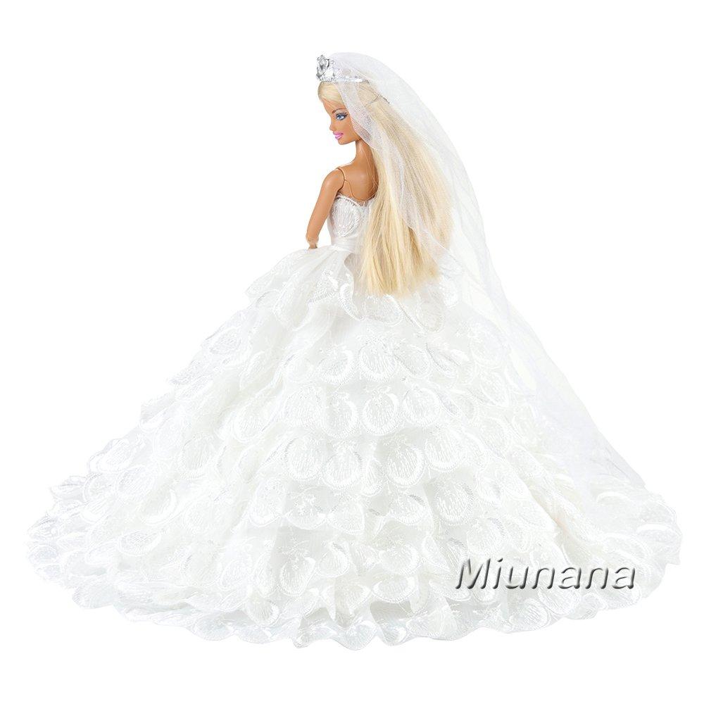 Amazon.es: Miunana 1 Novia Vestido Bordado Ropa Vestir Boda para Barbie Muñeca - Blanco: Juguetes y juegos