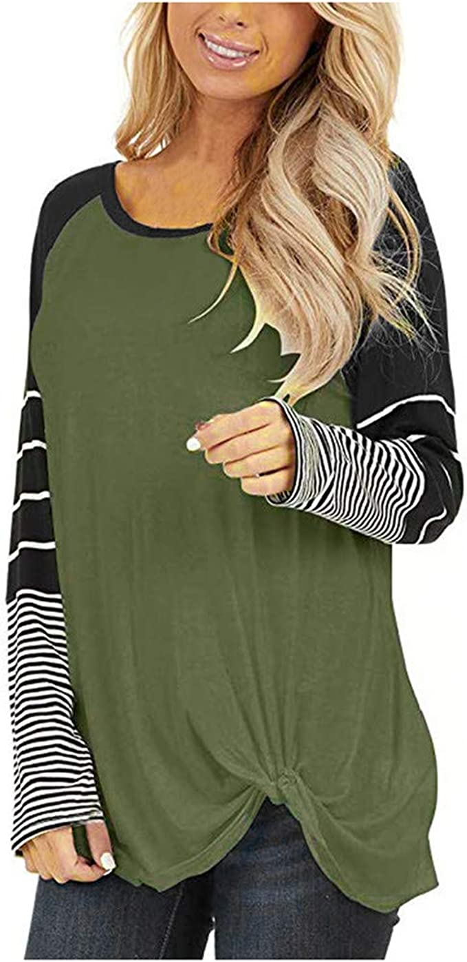 Loose Blouse Striped Long Sleeved T Shirt Womens Casual Tops Slim Splice BlousCR