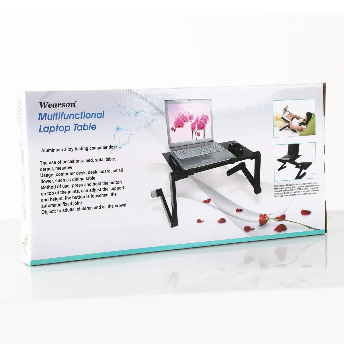 Black Without Fan, 420mm Desk Length Wearson Foldable Laptop Desk Portable Vented Lap Desk Adjustable Folding Aluminum PC Desk/Bed/Sofa Laptop Stand Notebook MacBook Table
