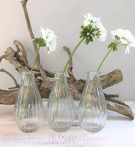 Set Of 3 Small Stem Glass Vases By Gisela Graham Amazon