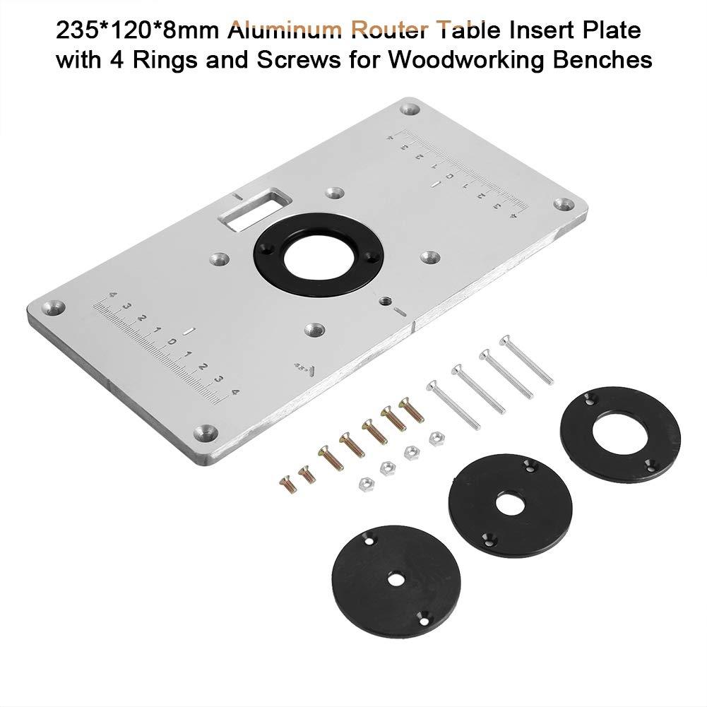 120 Nikou Fr/äserplatte 235 8mm Aluminium Fr/äserplatte mit 4 Ringen und Schrauben f/ür Holzb/änke