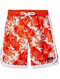 Big Chill Boys Scallop Short Camo Swim Trunk Rashguard, Orange, 5