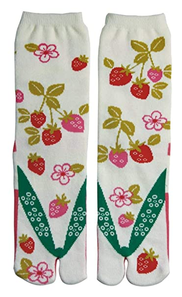 Japanese Samurai Ninja Tabi Socks; Strawberries
