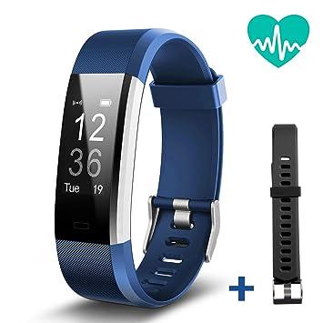 Geekera Moniteur dactivité, bracelet connecté, moniteur de fréquence cardiaque, montre connectée Bluetooth avec podomètre, ...