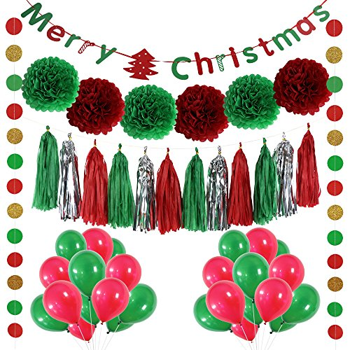 LITAUS Christmas Party Decorations, Balloons , Pom Poms Flowers,Paper Garland ,Tassels(red)