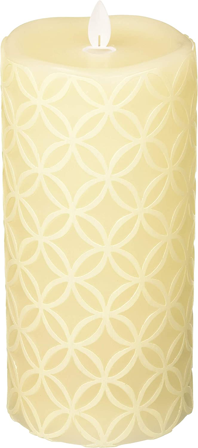 Sterno Home MGT12733CR Cream Hand Carved Design Wax Pillar with Timer