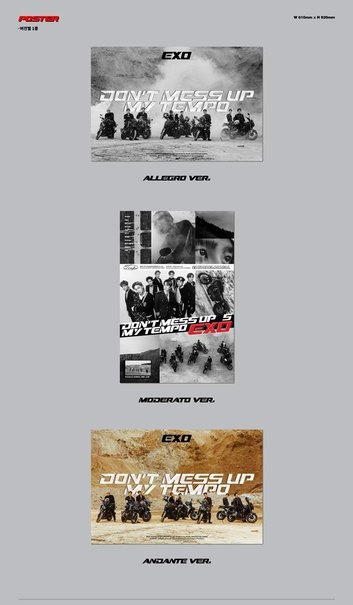 EXO - Don't Mess UP My Tempo [Moderato ver.] (Vol.5) CD+Booklet+Photocard+Pre-Order Benefit+Folded Poster+Extra Photocards Set
