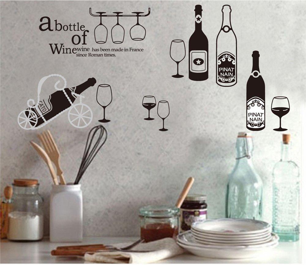 Ufengke® vino personalizzato e bicchiere di vino adesivi murali ...