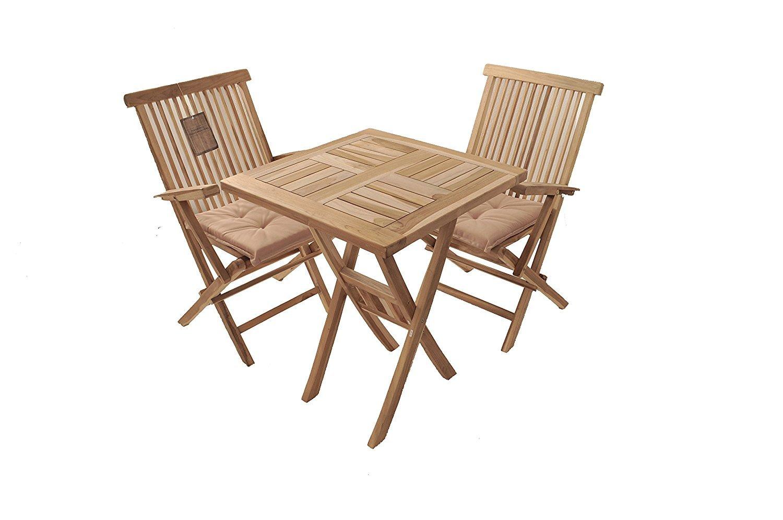 XXS® Balcón Grupo Sunset 3 piezas 70 x 70 cm, mesa y 2 sillas Mallorca con reposabrazos, madera de teca, silla con refuerzo en la Parte Inferior de rango: ...
