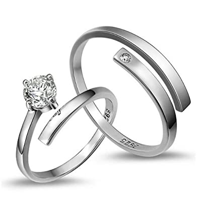 008237094e9 Peora Platinum Plated Silver Elegant Austrian Crystal Adjustable Couple  Ring for Men & Women
