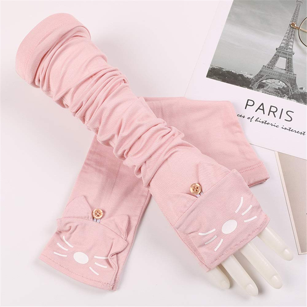 Comfortable UV Protection Sleeve Cotton Thin Female Cat Summer Outdoor Driving Long Sunscreen Sun Protection Gloves Durable (Color : Pink, Size : One Size-Five Pairs)