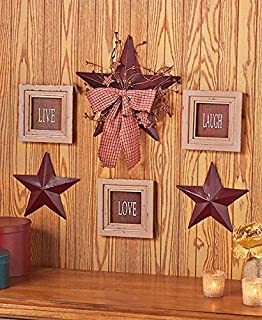 6 Pc Inspirational Sentiment Star Wall Frame Decor Burgundy Live Love Laugh