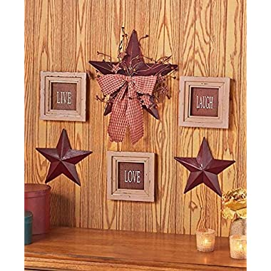 6 Pc Inspirational Sentiment Star Wall Frame Decor (Burgundy Live Love Laugh)