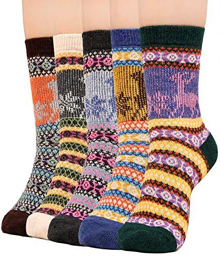Winter Wool Blend Socks for Women Quarter Cotton Knit Warm Thick Christmas Socks, 5 Pack