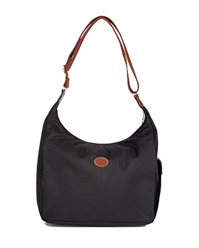 4bbe9792ae2b Amazon.com  Longchamp Nylon Shoulder Hobo Handbag - Le Pliage (Black)  Shoes