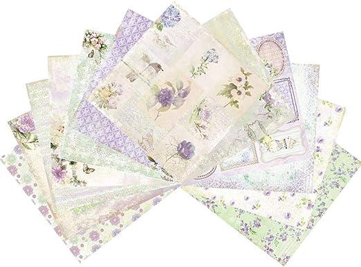 Haodene Papel Estampado Patrón 24 Hojas De Paper Decorativas Pack Scrapbooking Estampado para DIY Paper Álbumes De Recortes Decorativa Manualidades - 15.2 X 15.2cm: Amazon.es: Hogar