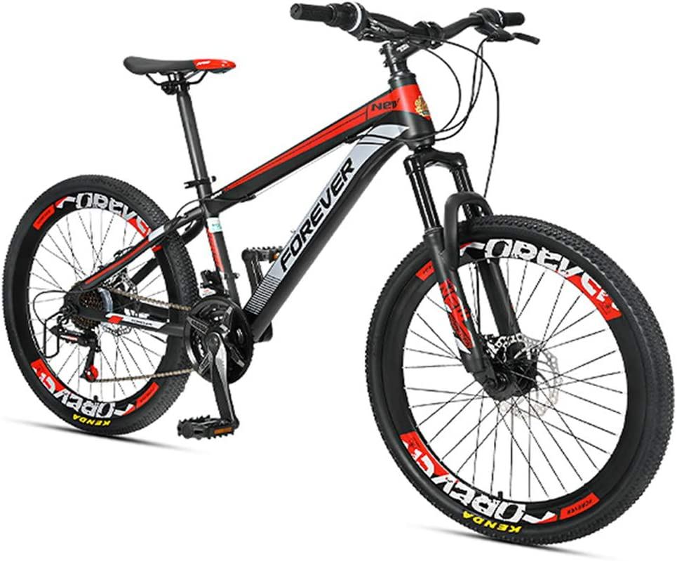 NENGGE Niño Bicicleta Montaña, 24 Velocidades Doble Freno Disco Hard Tail Bicicleta, Niña Bicicleta De Montaña Portátil, Marco De Acero De Alto Carbono,Rojo,24 Inches: Amazon.es: Hogar