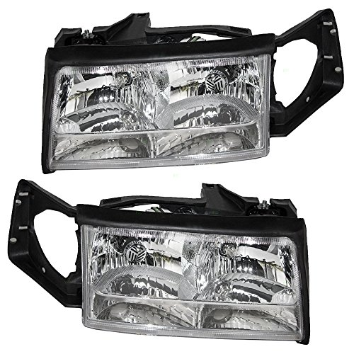 (Pair Set Halogen Combination Headlights Headlamps Replacement for Cadillac DeVille 16526199)