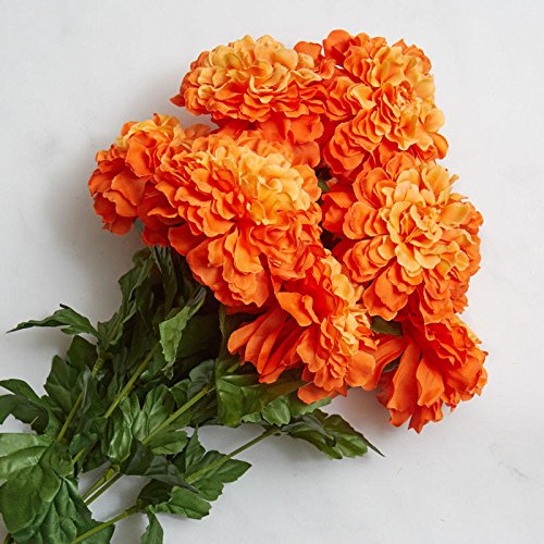 Factory Direct Craft Orange Poly Silk Artificial Marigold Bush for Indoor (Poly Silk Flower)
