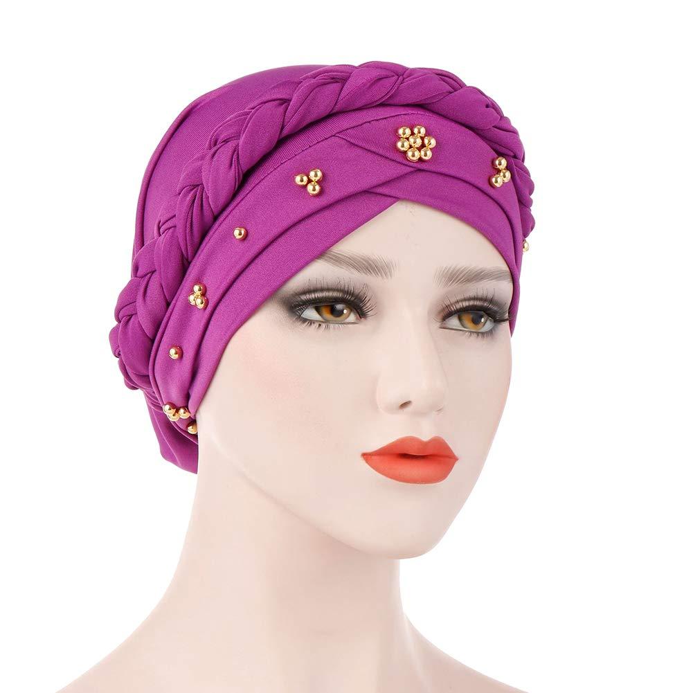 BrawljRORty Muslim Scarf Wraps - Solid Color Braid Beads Decor Women Muslim Hijab Turban Head Scarf Cap Hat by BrawljRORty (Image #9)